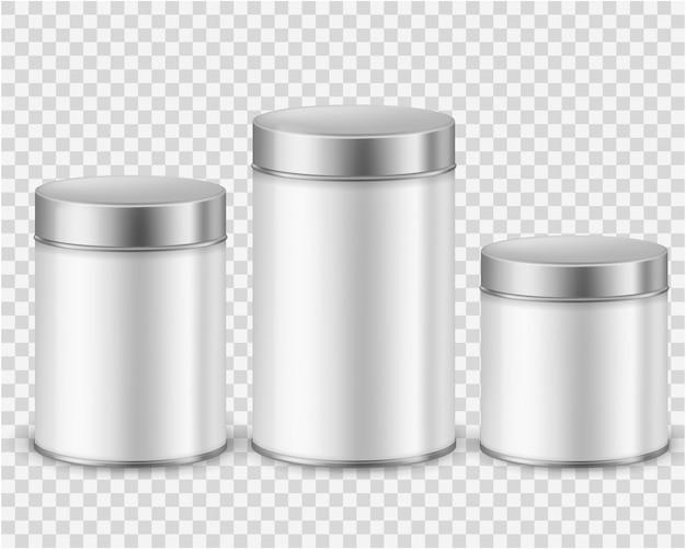 Contenedor metálico de lata. plantilla de envasado de productos secos, té, café, azúcar, cereales, especias, polvo, latas redondeadas. realista