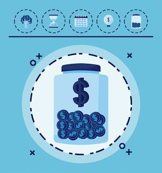 Contenedor con monedas y set de iconos economia finanzas