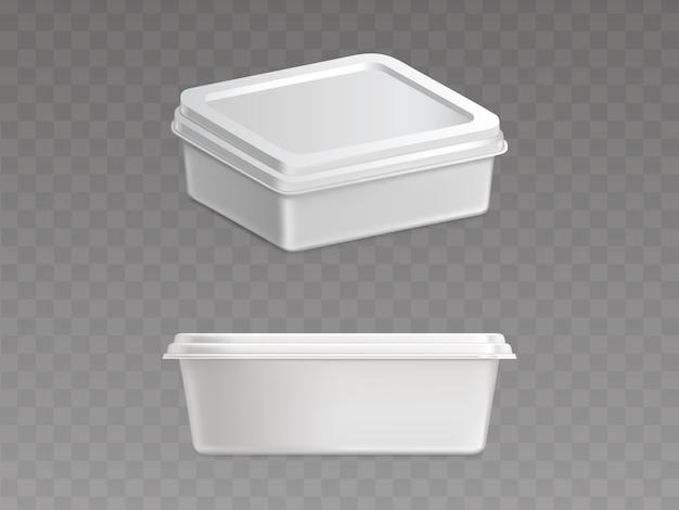 Contenedor de plástico sellado para productos alimenticios vector