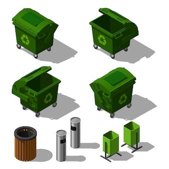 Contenedores de basura al aire libre isométricos y papeleras de reciclaje. botes de basura de la ciudad.