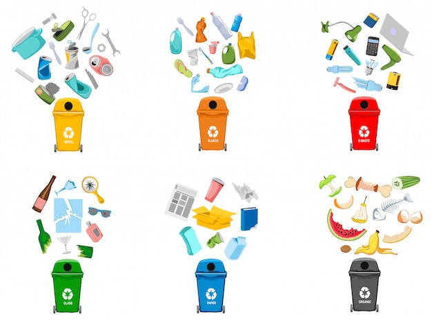 Contenedores de basura y tipos de basura.