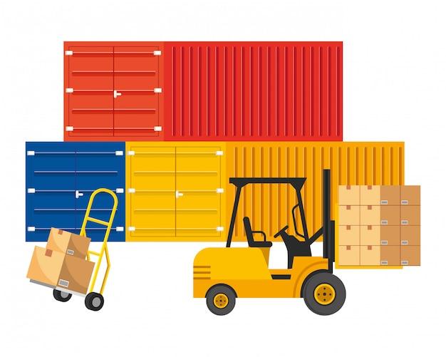 Contenedores de carga con ilustración de carretilla de mano
