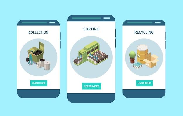 Contenedores de clasificación de residuos, recolección de basura, reciclaje, isométrico, pantallas de teléfonos inteligentes, composiciones, aplicación móvil