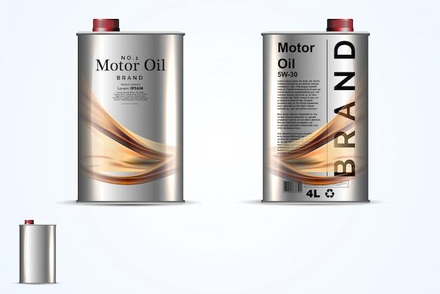 Contenedores de metal realistas para aceite de motor.