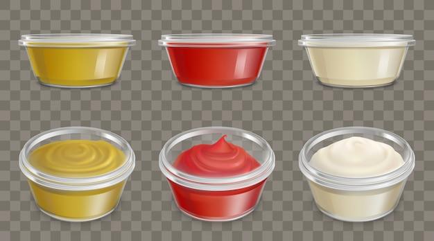 Contenedores de plástico para salsas conjunto de vectores realistas