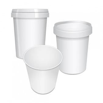 Contenedores de taza de comida en blanco para comida rápida, postre, helado, yogur o merienda.