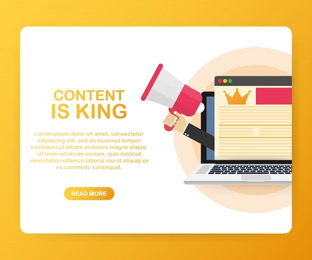 El contenido es el rey, el concepto de marketing en una pantalla de computadora portátil.