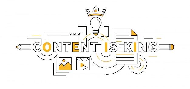 El contenido es rey diseño de línea plana