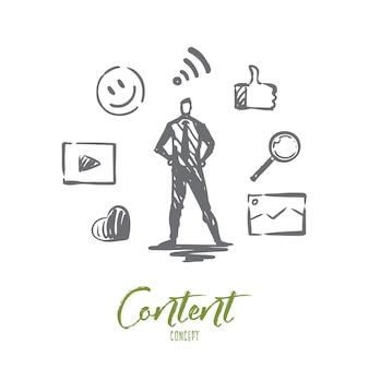 Contenido, internet, medios, estrategia, concepto de red. gestor de contenido dibujado a mano y símbolos del bosquejo del concepto de red.