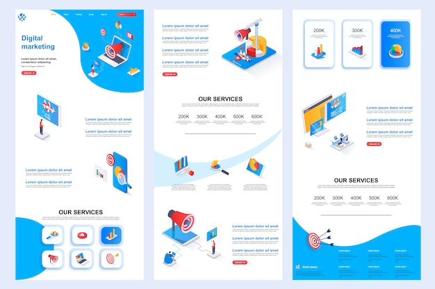 Contenido medio y pie de página de la página de destino de la plantilla de sitio web isométrico de marketing digital