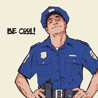 Contento policia en uniforme. forma azul policía de confianza hombre seguro de sí mismo en un uniforme azul. el chico de la gorra. feliz policia caracter fuerte. atrapa a los criminales.