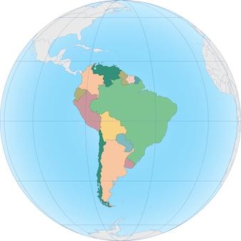 El continente sudamericano está dividido por país.