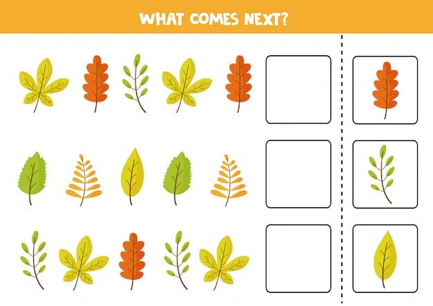 Continúe la secuencia con lindas hojas de otoño. que viene despues.