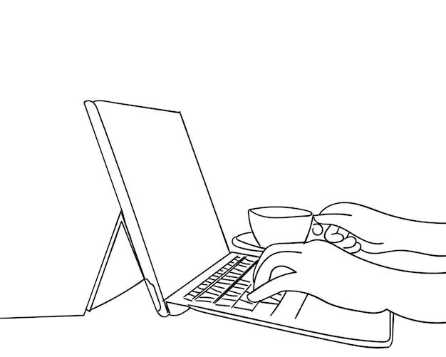 Continuo dibujo de manos escribiendo en la computadora portátil