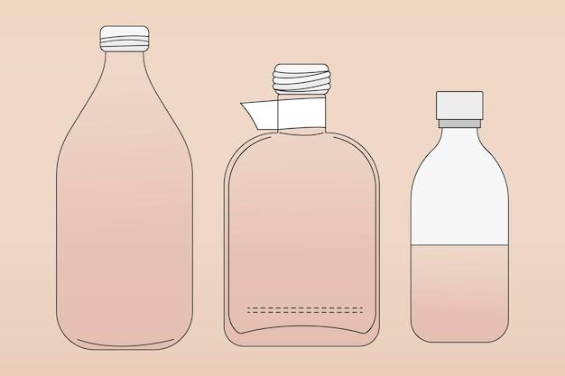 Contorno de botella de vidrio rosa, ilustración de vector de contenedor de basura cero