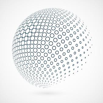 Contorno del círculo global de la tecnología de fondo azul.