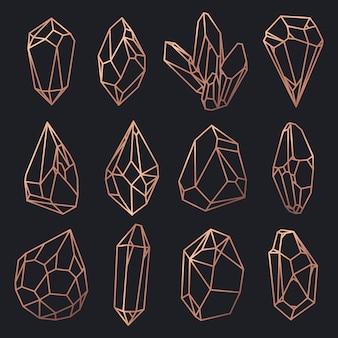 Contorno de cristales y diamantes, gemas y rocas.