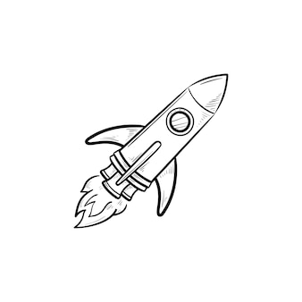 Contorno dibujado mano cohete doodle icono. futuro viaje espacial, universo y tecnología, concepto de nave espacial de lanzamiento