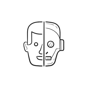 Contorno dibujado a mano mitad humano mitad robot cabeza doodle icono. inteligencia artificial, concepto de robótica moderna