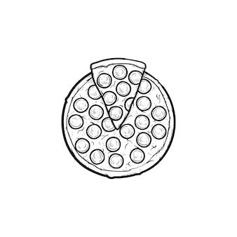 Contorno dibujado a mano pizza italiana doodle icono. ilustración de dibujo vectorial de pizza entera para impresión, web, móvil e infografía aislado sobre fondo blanco.