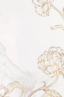 Contorno floral dorado sobre fondo de mármol