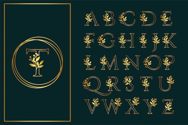 Contorno de fuente floral logotipo de boda de san serif hermosa