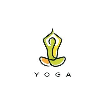 Contorno de línea de icono de logotipo de yoga estilo monoline