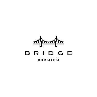 Contorno de línea de logotipo de puente monoline