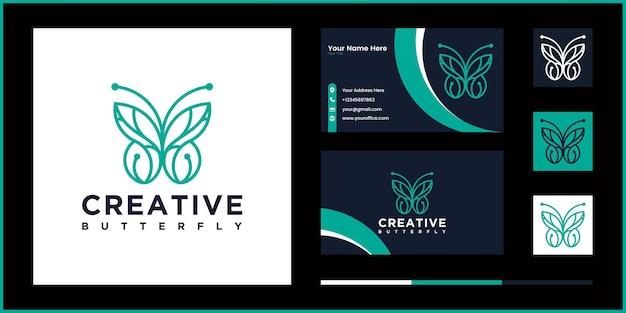 Contorno de línea de vector de logotipo de mariposa creativa