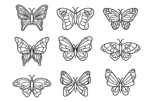 Contorno de mariposa con colección de detalles planos lineales