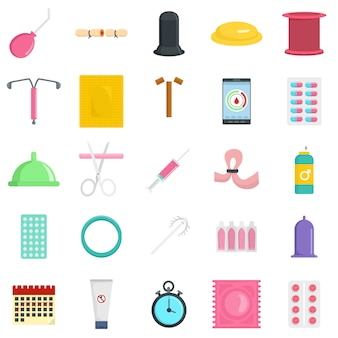 Contraception day control icons set