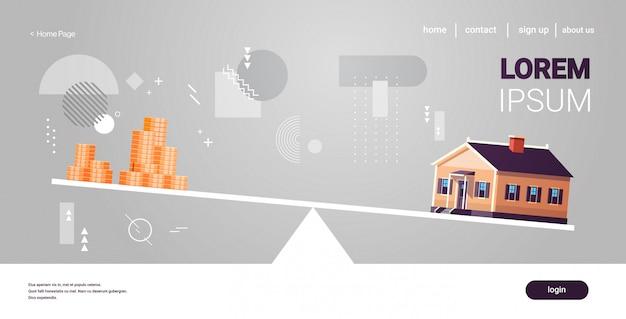 Contras de casa y dinero equilibrado en escalas inmobiliarias, inversión, alquiler, gastos, pasivos y concepto de hipoteca