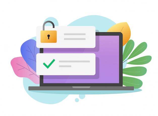 Contraseña de acceso seguro en línea con bloqueo abierto en la computadora portátil o la tecnología de privacidad de internet