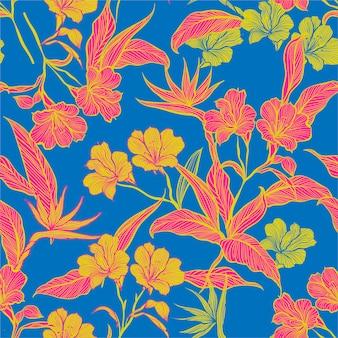 Contraste colorido patrón floral sin fisuras
