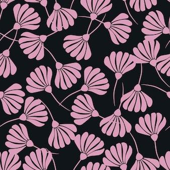 Contraste de patrones sin fisuras al azar con adornos de siluetas de flores rosadas.