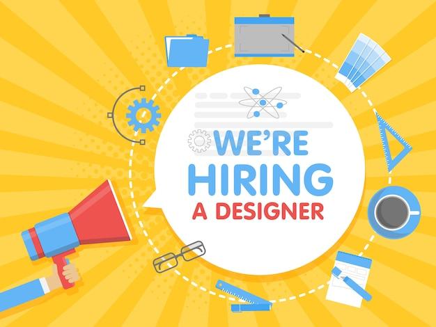 Contratamos a un diseñador. ilustración de vector de concepto de megáfono plantilla de banner, anuncios, búsqueda de empleados, contratación de artistas gráficos para el trabajo