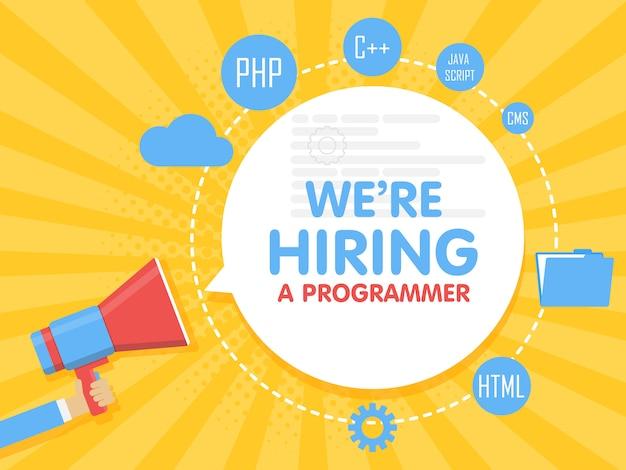 Contratamos a un programador. ilustración de vector de concepto de megáfono plantilla de banner, anuncios, búsqueda de empleados, contratación de desarrollador o codificador para el trabajo