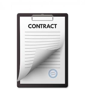 Contrato en blanco con sello en el portapapeles. acuerdo de trato, firma de tratado.