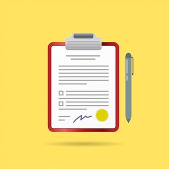 Contrato de contrato vectorial y bolígrafo con firma
