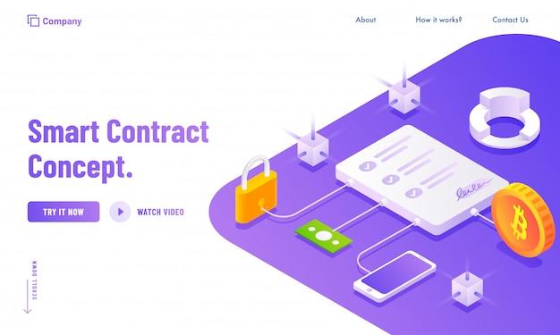 Contrato electrónico inteligente o concepto digital.