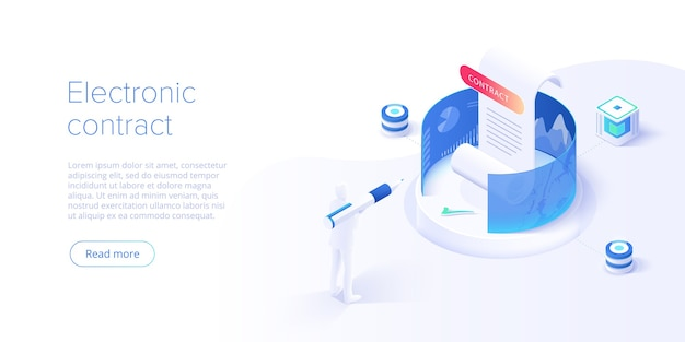 Contrato electrónico o concepto de firma digital en ilustración isométrica