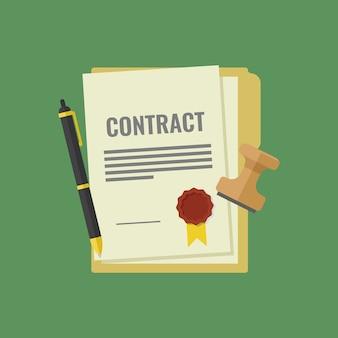 Contrato firmado y sellado, pluma, sello, documentos para la firma