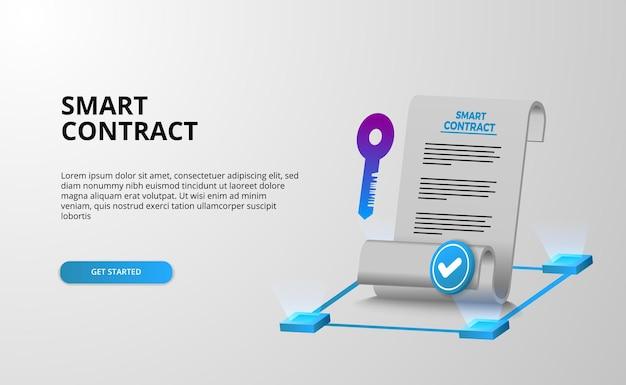 Contrato inteligente digital para seguridad de acuerdo de documento de firma electrónica, finanzas, legal corporativo.