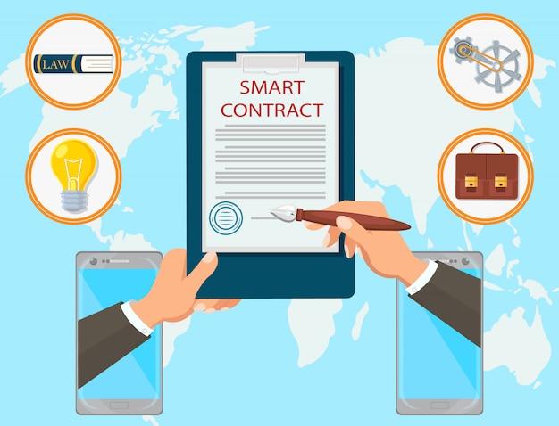 Contrato inteligente vector plano de la firma de abogados en línea móvil.