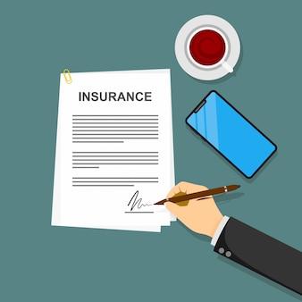 Contrato de póliza de seguro en la mano ilustración plana