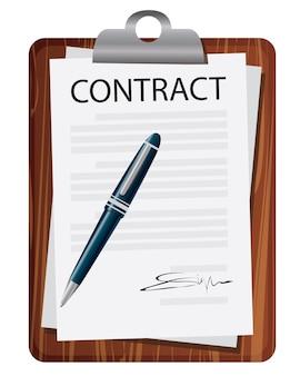 Contrato que firma el concepto del acuerdo legal. ilustración vectorial