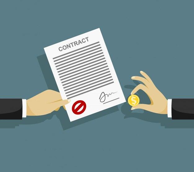 Contrato de soborno. empresario paga por contrato. la corrupción en los negocios.