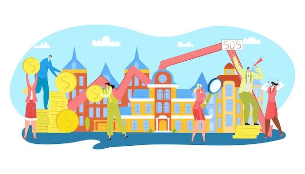 Contribución a bienes raíces, ilustración de propiedad hipotecaria. monedas de dinero en efectivo cayendo sobre casas y personas con inversiones. edificios urbanos inmobiliarios, créditos inmobiliarios y caída de precios.