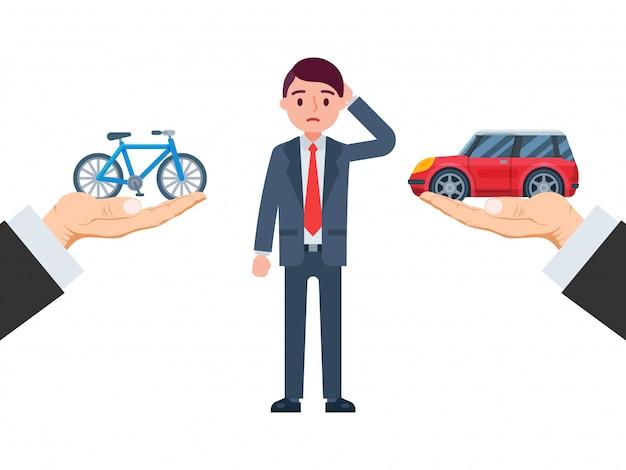 Dé a control la bicicleta y el vehículo, tipo elección transporte del carácter masculino aislado en blanco, ilustración. empresario seleccione transporte.