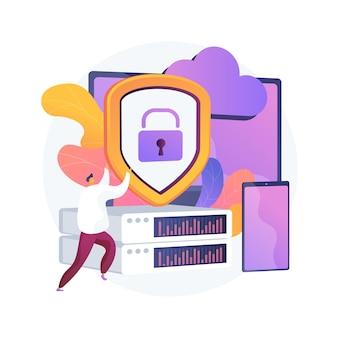 Control del centro de datos. software informático, tecnología de alojamiento. acceso bloqueado. hardware de programación. información personal, base de datos protegida, almacenamiento seguro. ilustración de metáfora de concepto aislado de vector